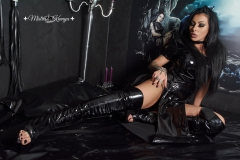 Mistress Kennya in boots with open toe and pvc dress